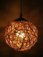 Rustic rattan lamp handmade knitted pendant light living room decoration lamps bedroom pendant light restaurant lamp