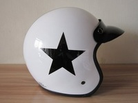 [Genuine promotion] imported helmets, white black star retro half helmet, motorcycle helmet helmet electric car Free shipping