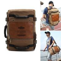 Men's Vintage Canvas backpack Rucksack laptop shoulder bag Hiking travel Camping bagFH09