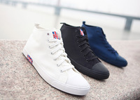 Hot-selling white male high canvas shoes fashion trend of the m word flag lovers design white shoes