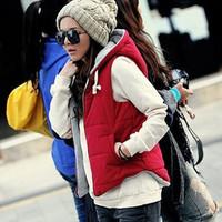 Autumn Winter down vest women 100% cotton down warm vest zip hooded woman's Gilet outerwear female jacket waistcoat for women