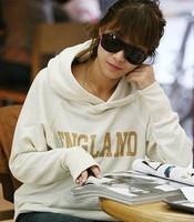 women pullover sweatshirt hooded fleece outerwear England letter print Hoody Long sleeve coat lady Simple loose jacket letter
