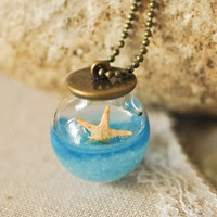 Left bank handmade vintage marine natural shell glass ball necklace female