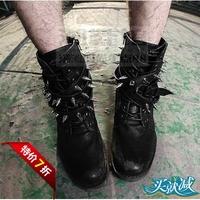 Rivet boots lengthen rivets boots spike casual male punk high men's boots punk men's boots
