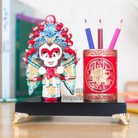 Free Shipping Chinese Mythology Pen Stand Holder Handwork Porcelain Paint Brush Pot Vintage Embossment Chinese Pen Box