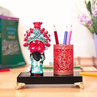 Free Shipping Chinese Legendary Figures Pen Holder Handwork Porcelain Painting Pencil Cup Vintage Paint Brush Pot Pencil Holder
