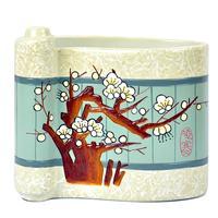 Free Shipping Chinese Plum Flower Pen Holder Handwork Porcelain Painting Pencil Cup Vintage Paint Brush Pot Pencil Holder