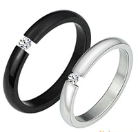 New arrival 316L stainless steel ring personalized black and white color finger jewelry for lovers 258