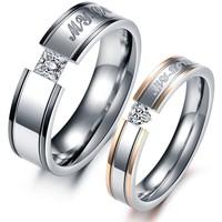 Fashion Heart AAA Cubic Zirconia Rhinestone + Steel Couple Rings Set Men Jewelry Rings For Women Engagement Wedding Ring 351