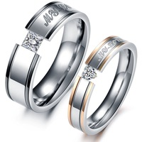OPK JEWELRY 2014 New Fashion Crystal Rhinestone + Steel Couple Rings Set Men Jewelry Rings For Women Engagement Wedding Ring 351