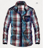 Hot sale men high quality long-sleeve  100% cotton plaid shirt  men blouses 18 style in stock size M L XL XXL