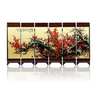 Free Shipping Antique Folding Screens 6 Panels Landscape Paintings Chinese Silk Screen Vintage Mini Screen Calligraphy