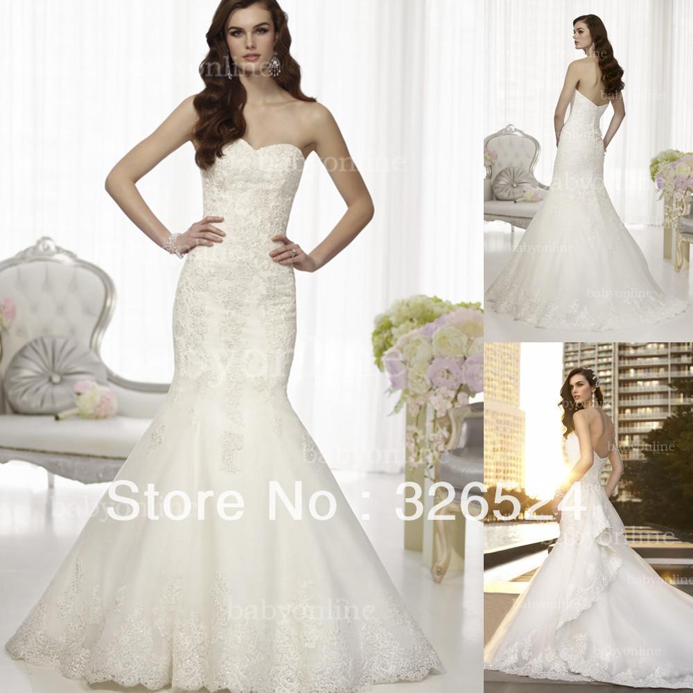 Mermaid Wedding Dress With Detachable Train : Mermaid lace wedding dress sheath top with detachable