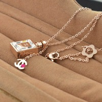 For nec  klace n0.5 perfume bottle necklace rose gold titanium steel necklace