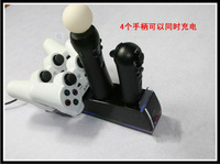 Black 4 in 1Controller Charger Charging Station Dock for PS3 Move Controller  Free shipping