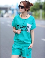 Summer wear han edition dress letter pocket stitching leisure sportswear bat suit