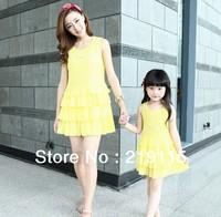 2013 summer new women's pleated mother parents installed cake chiffon skirt sleeveless dress mother dress quality assurance