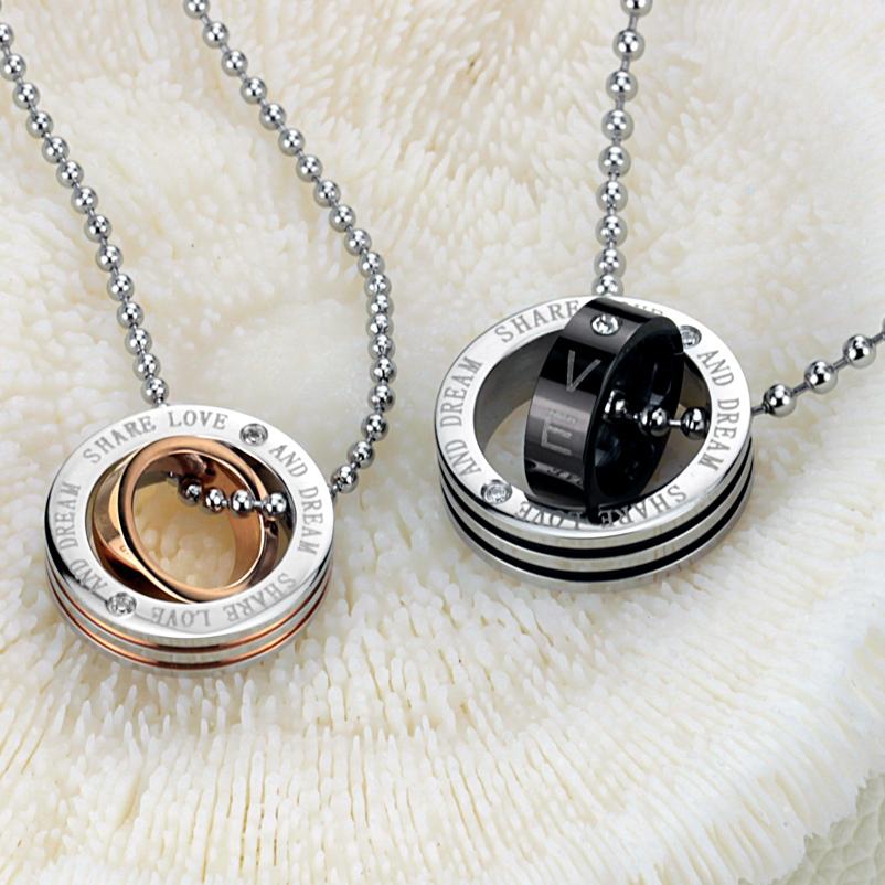 Wholesale Price Tiny Round Necklace Pendant Titanium Steel Love Gifts Lovers Jewelry 764