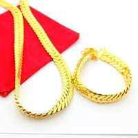 Free Ship Fashion 24k Gold Plated men's Jewelry Sets 24k Gold Plated Snake Chain 24K Gold Plated Necklace&Bracelet Jewelry AKS12