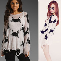 spring & autumn,fashion style wildfox CoutureVIVI picture cat head face hole pullover sweater ,2028