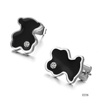 Cute stainless steel stud beautiful black color shining crystal jewelry new arrival earring 226