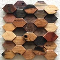 Natural wood mosaic tile NWMT052 hexagon shaped wood mosaic pattern 3D backsplash tile ancient wood mosaic tiles
