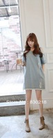 Free Shipping  QZ13 Summer new Korean loose strapless washed wear white short-sleeved denim dress flash