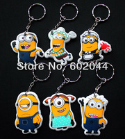 Free shipping brand new 100pcs New Despicable me Tim the Minion Key Chains Popular Key Ring