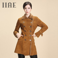 Iiae 2013 winter new arrival berber fleece turn-down collar fur one piece genuine leather sheepskin leather clothing