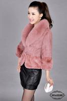 Natural  fur coat fur vest autumn new arrival sweater vest short design women's   Natural  rabbit fur coat  fox fur collar