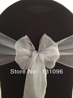 100pcs Top Quality Dark Sliver Snow Organza Sash For Wedding Event &Party Decoration