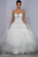 Sexy Ball Gown Beaded Pnina Tornai Bling Bling Wedding Dresses 4074 Tulle Sweetheart Tiered Shimmer