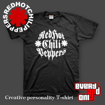 Free Shipping 2013 Red hot chili peppers name logo short-sleeve T-shirt black  Rock Band Men's T shirts