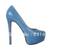 New arrival!  Genuine leather high heel shoes blue dress shoes lady pumps