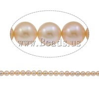 Free shipping!!!Round Cultured Freshwater Pearl Beads,wedding jewellery, with Nylon Cord, natural, pink, AAA, 12-13mm