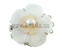 Free shipping!!!Shell Box Clasp,ladies, with Cultured Freshwater Nucleated Pearl & Brass, Flower, 39x33x14mm, Hole:Approx 1.5mm
