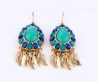 Earrings fashion transparent women's alloy natural stone earring