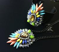 Fashion multicolour shourouk style necklace