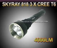 10pc/DHL,SKY-RAY 818 5-Mode 4000 Lumens 3 * CREE XM-L XML T6 LED Flashlight 18650 Battery Extendable High Power Torch