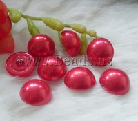 Free shipping!!!Plastic Pearl shank button,Korean, with Brass, Dome, red, 13mm, 50PCs/Bag, Sold By Bag