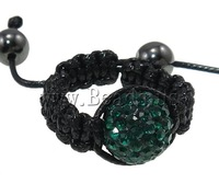 Free shipping!!!Shamballa Finger Ring,Wholesale Jewelry, Clay, Round, handmade, with rhinestone, Emerald, 12mm