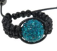 Free shipping!!!Shamballa Finger Ring,creative jewelry, Clay, Round, handmade, with rhinestone, Indicolite, 17.5mm