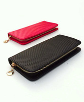 2013 knitted genuine leather wallet Women long design women's handbag ladies elegant day clutch