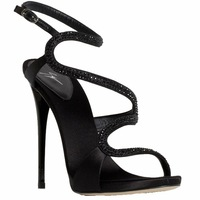 Fashion black rhinestone sexy gz decoration high-heeled sandals female banquet ultra high heels female sandals