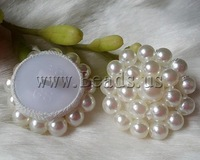 Free shipping!!!Plastic Pearl shank button,Jewelry Blanks, Flower, white, 30mm, 30PCs/Bag, Sold By Bag