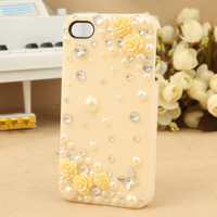 Free shipping Diamond  for apple   4 rhinestone phone case rose rhinestone shell iphone4 s female mobile phone case hot selling