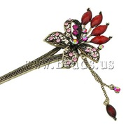 Free shipping!!!Beak Clips,2013 new famous fashion brand, Zinc Alloy, Butterfly, antique bronze color plated, with rhinestone