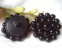 Free shipping!!!Plastic Pearl shank button,Cheap, Flower, black, 28mm, 30PCs/Bag, Sold By Bag