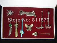 Free shipping Exquisite NEW LOL  key chains cos Pendants set of 9pcs,9 styles of Weapons mixed with color box