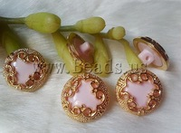 Free shipping!!!Resin shank button,sexy,chinese jewelry, with ABS plastic, Flat Round, pink, 16mm, 50PCs/Bag, Sold By Bag